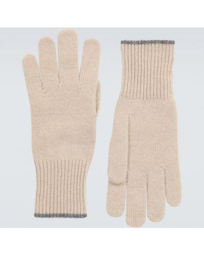 Prążkowane beżowe z kaszmiru rękawiczki Brunello Cucinelli