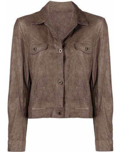 Укороченная кожаная куртка с воротником классическая Salvatore Santoro