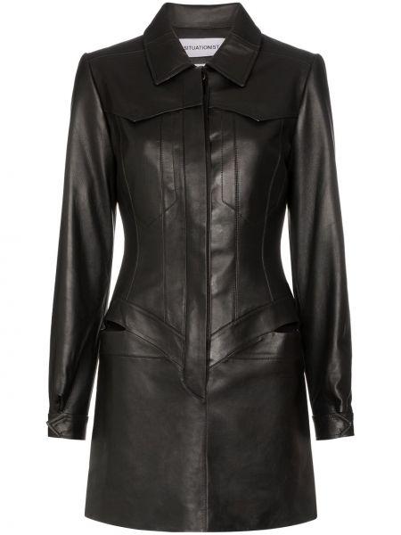 Классическое кожаное платье макси с воротником с манжетами Situationist