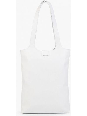 Белая кожаная сумка шоппер Asya Malbershtein