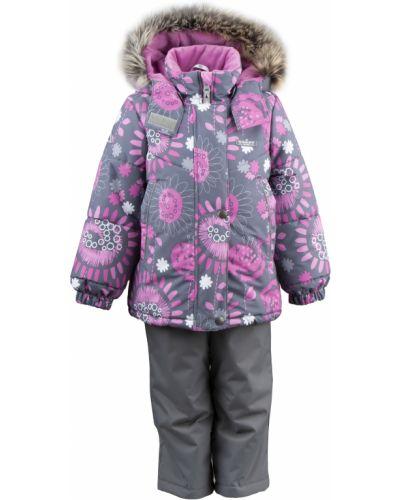 Зимний комбинезон серый розовый Mothercare