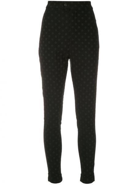 С завышенной талией черные брюки с отворотом À La Garçonne