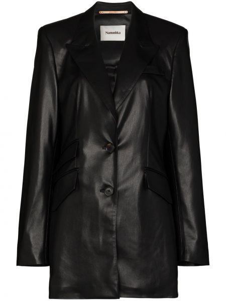 Черный кожаный пиджак на пуговицах Nanushka