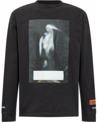 T-shirt z haftem - czarna Heron Preston