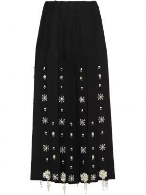 Wełniany czarny z wysokim stanem spódnica maxi frędzlami Prada