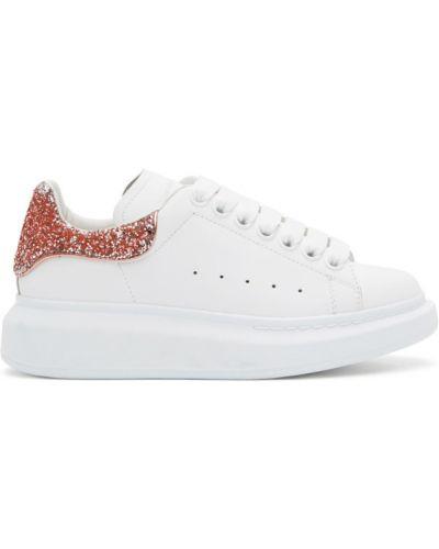 Ażurowy różowy sneakersy na platformie zasznurować okrągły Alexander Mcqueen