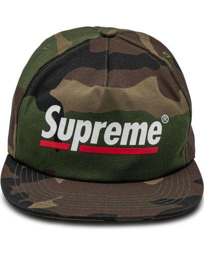 Zielona czapka bawełniana z printem Supreme