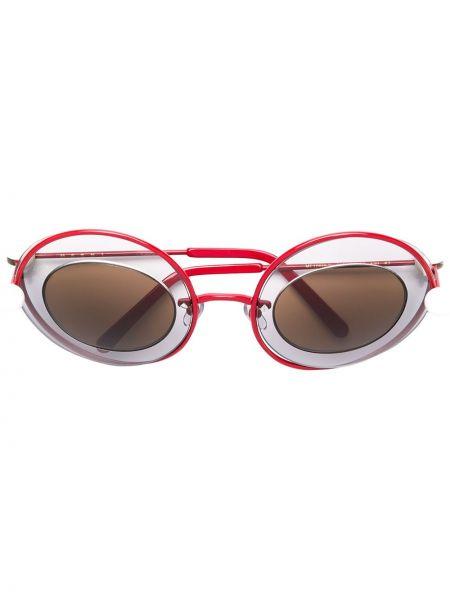 Солнцезащитные очки круглые металлические хаки Marni Eyewear