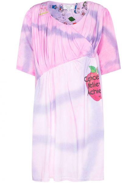 Sukienka mini z printem - różowa Collina Strada