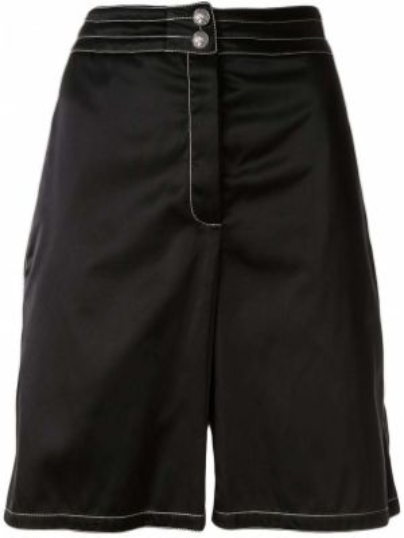 Хлопковые черные бермуды с поясом Chanel Pre-owned