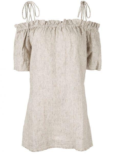 Коричневое платье мини с открытыми плечами Venroy