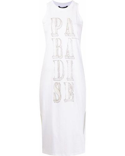 Хлопковое платье миди с принтом без рукавов Armani Exchange