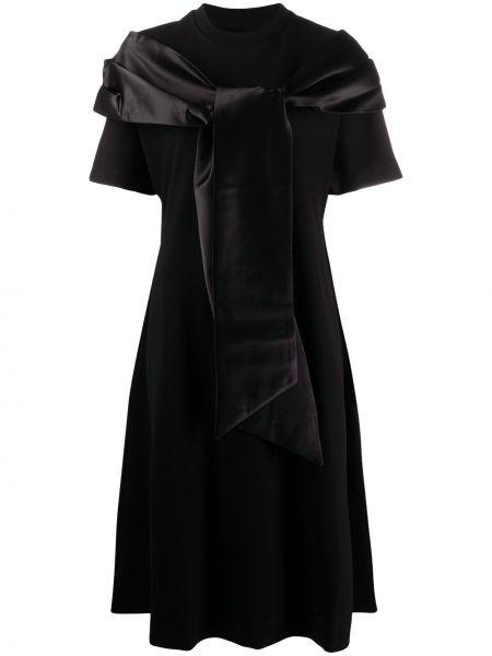 Черное платье с карманами с короткими рукавами из вискозы Simone Rocha