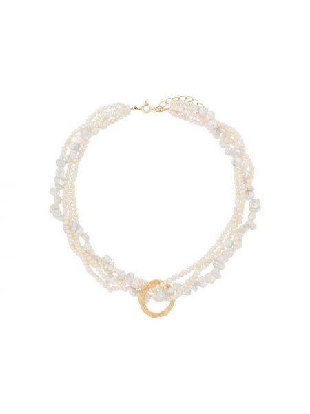 Złoty naszyjnik perły pozłacany Hermina Athens