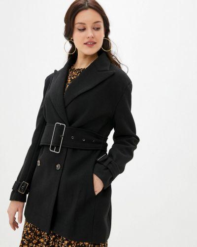 Черное пальто двубортное B.style