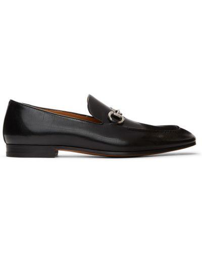 Czarny skórzany loafers prążkowany kaskada Gucci