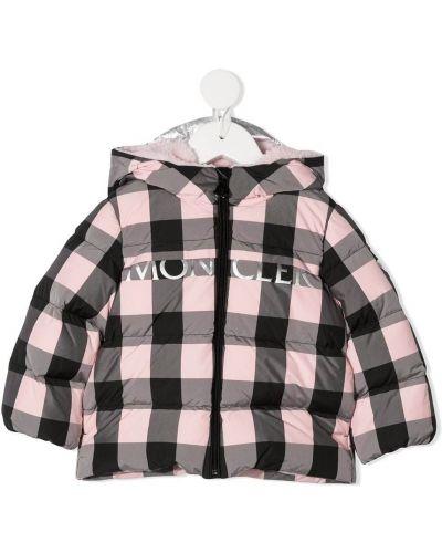 Ватная черная длинная куртка с капюшоном Moncler Kids