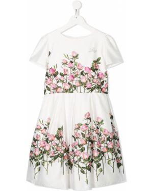 Белое платье с рукавами с вырезом круглое с короткими рукавами Lesy