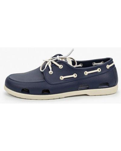 Текстильные синие топсайдеры Crocs