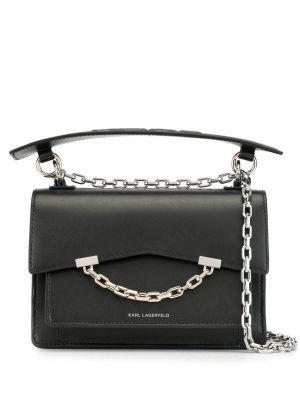 Черная сумка на цепочке с карманами с тиснением из натуральной кожи Karl Lagerfeld