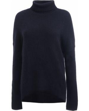 Кашемировый синий свитер с воротником с поясом Amanda Wakeley
