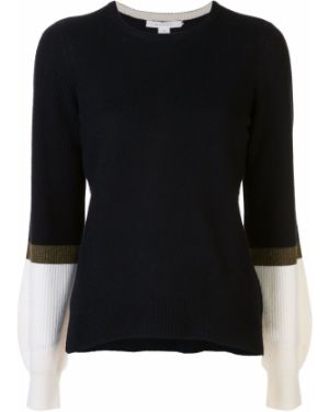 Кашемировый оливковый свитер в рубчик с круглым вырезом Duffy