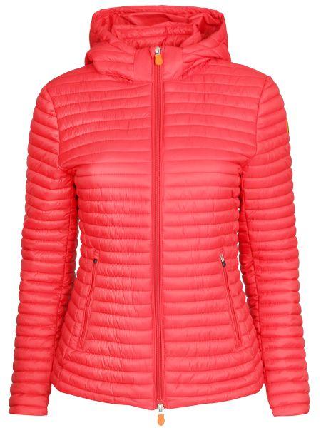 Приталенная красная нейлоновая стеганая куртка на молнии Save The Duck