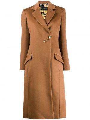 Коричневое кашемировое длинное пальто с капюшоном Versace