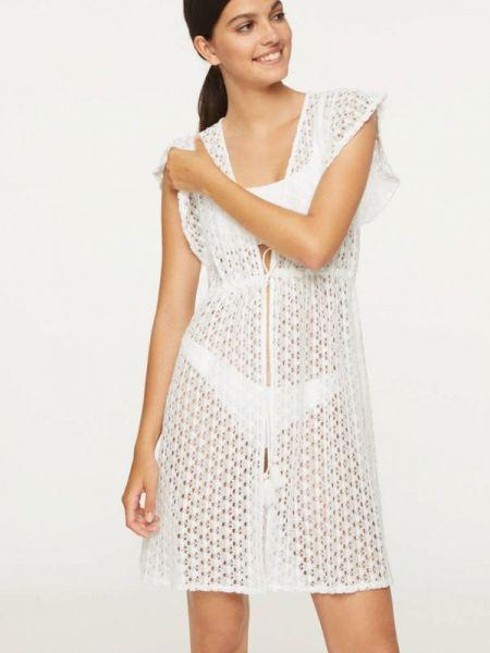 Пляжное белое пляжное платье Oysho