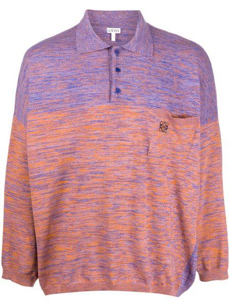 Pomarańczowe polo z długimi rękawami z haftem Loewe