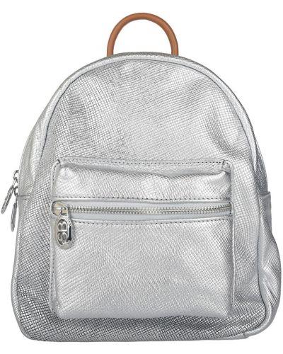 Кожаный рюкзак - серебряный Sara Burglar