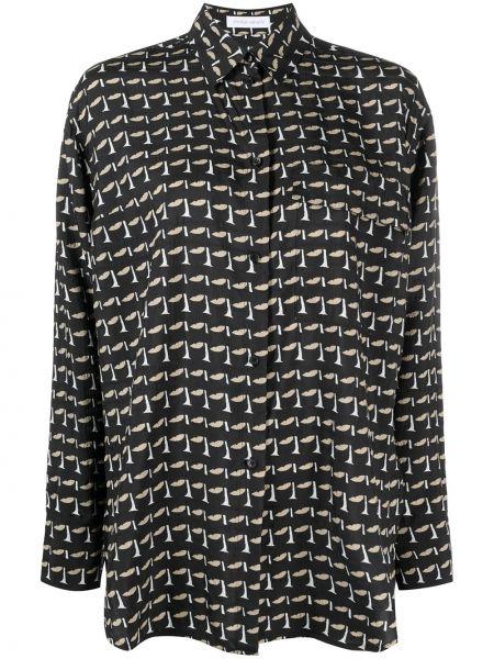 Шелковая с рукавами черная классическая рубашка Christian Wijnants