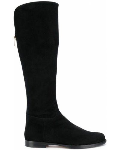 Черные кожаные ботфорты на каблуке Unützer