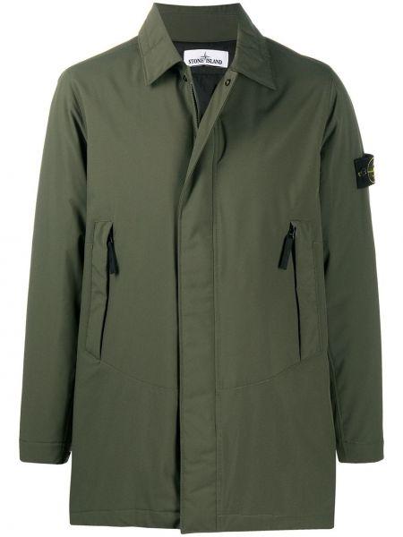 Światło zielony długa kurtka z długimi rękawami z kołnierzem Stone Island