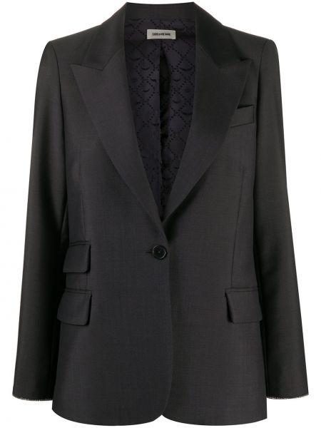 Однобортный серый удлиненный пиджак с карманами Zadig&voltaire