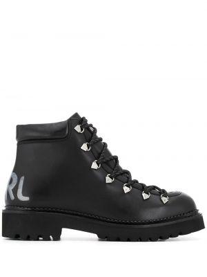 Ботинки на каблуке черные на шнуровке Karl Lagerfeld