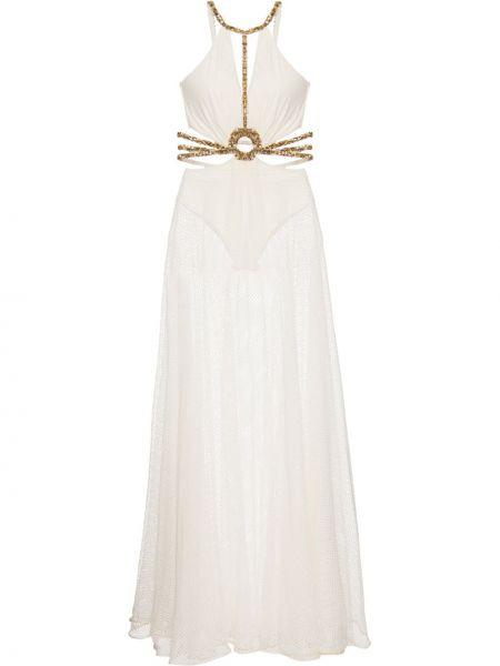 Платье прозрачное на бретелях с V-образным вырезом с бисером Patbo