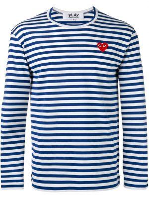 Хлопковая синяя футболка с вышивкой Comme Des GarÇons Play