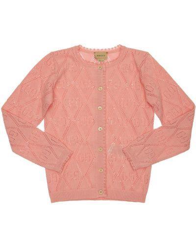 Bawełna różowy kardigan na przyciskach Gucci