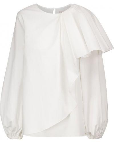 Хлопковая асимметричная белая блузка Carolina Herrera