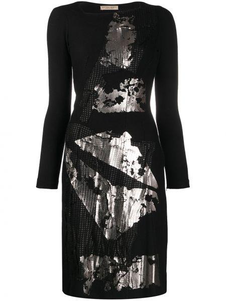 Черное платье с длинными рукавами с вырезом эластичное Bottega Veneta Pre-owned