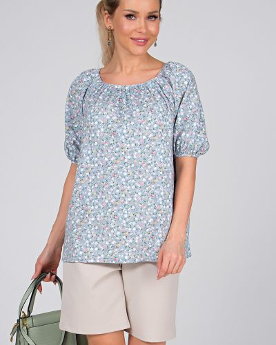 Блузка с принтом с вырезом с рукавом реглан Valentina