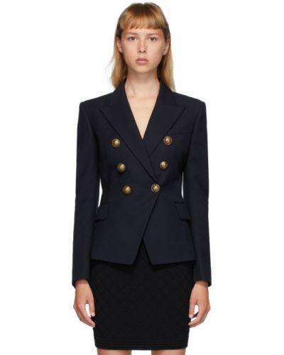Шерстяной пиджак с карманами золотой с воротником Balmain