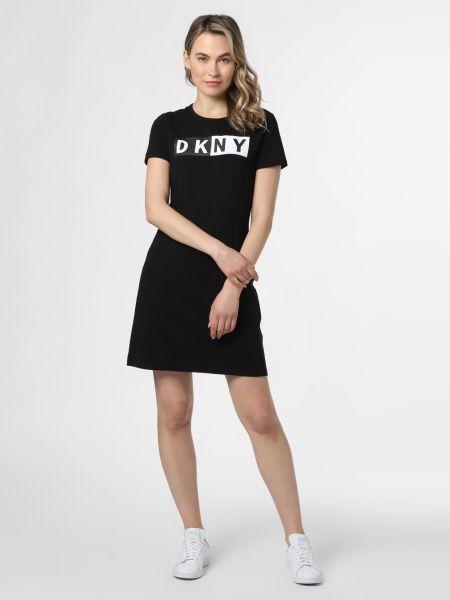 Czarna sukienka z printem miejska Dkny