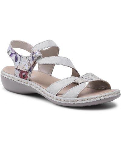 Sandały skórzane - szare Rieker