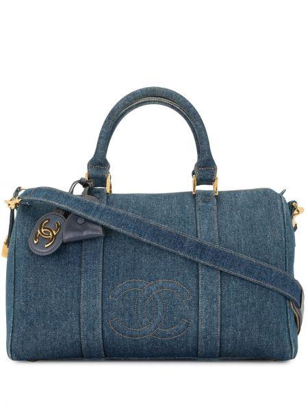 Синяя парусиновая с ручками сумка с вышивкой Chanel Pre-owned