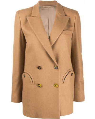 Шерстяное длинное пальто двубортное с карманами Blazé Milano