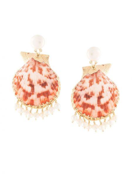 Pomarańczowe złote kolczyki sztyfty Mercedes Salazar