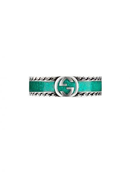 Zielony pierścionek srebrny Gucci