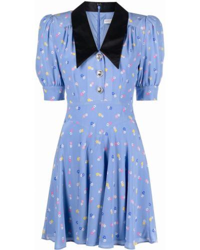 Синее шелковое платье мини с воротником Alessandra Rich